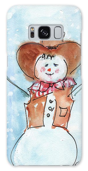 Cowboy Snowman Watercolor Painting By Kmcelwaine Galaxy Case
