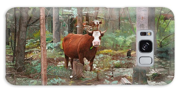 Cows In The Woods Galaxy Case by Joshua Martin