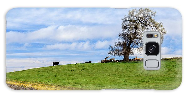Galaxy Case featuring the photograph Cows On A Spring Hill by James Eddy