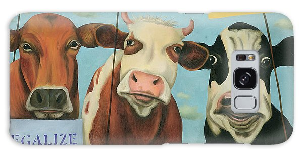 Cows On Strike Galaxy Case by Leah Saulnier The Painting Maniac