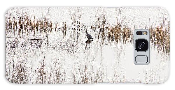 Crane In Reeds Galaxy Case by Laura Pratt