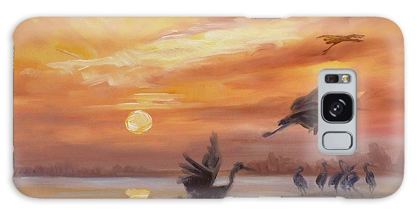 Cranes - Golden Sunset Galaxy Case by Irek Szelag