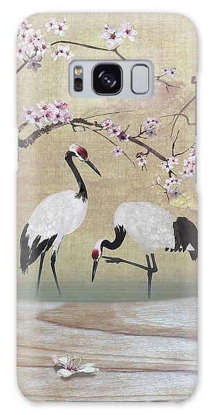 Cranes Under Cherry Tree Galaxy Case