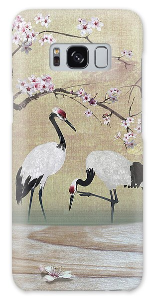 Cranes Under Cherry Tree Galaxy Case