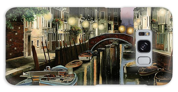 Docked Boats Galaxy Case - Crepuscolo In Laguna by Guido Borelli