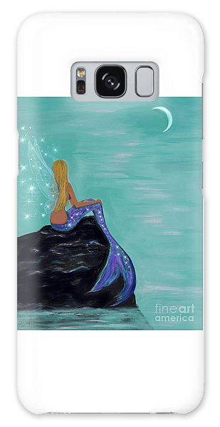 Galaxy Case featuring the painting Crescent Mermaid Moon Fairy by Leslie Allen