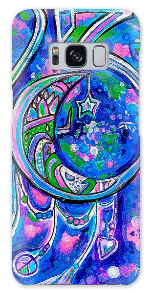 Feather Stars Galaxy Case - Crescent Moon 23 With Diamonds by Genevieve Esson