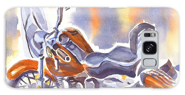 Crimson Motorcycle In Watercolor Galaxy Case by Kip DeVore