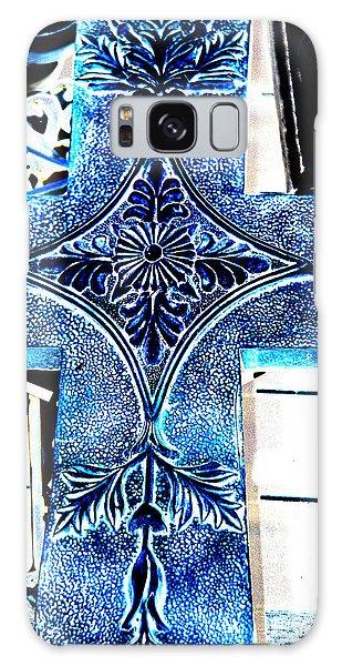 Cross In Blue Galaxy Case