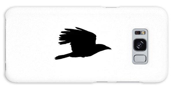 Crow In Flight Silhouette Galaxy Case