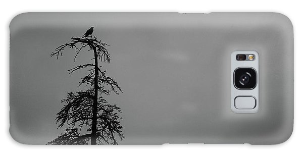 Crow Perched On Tree Top - Black And White Galaxy Case by Matt Harang