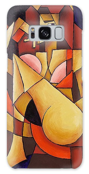 Galaxy Case featuring the painting Cube Woman by Sotuland Art