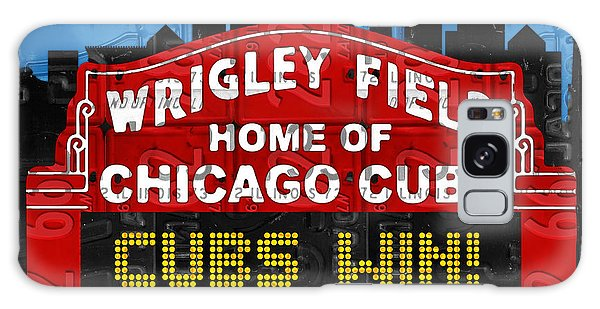 Cubs Win Wrigley Field Chicago Illinois Recycled Vintage License Plate Baseball Team Art Galaxy Case