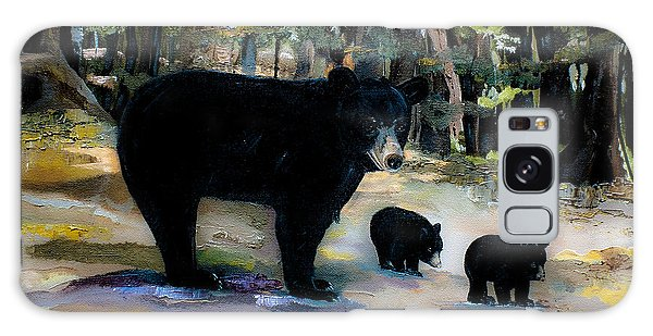 Cubs With Momma Bear - Dreamy Version - Black Bears Galaxy Case