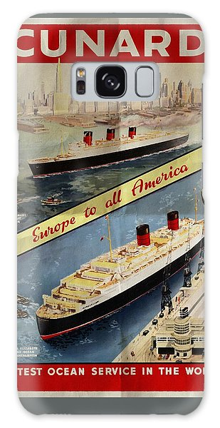 Cunard - Europe To All America - Vintage Poster Folded Galaxy Case