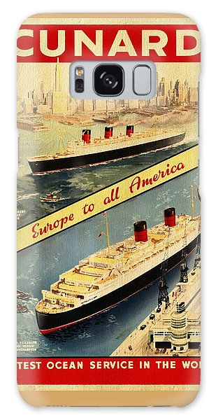 Cunard - Europe To All America - Vintage Poster Vintagelized Galaxy Case