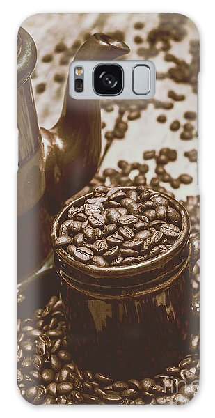 Cafe Galaxy Case - Cup And Teapot Filled With Roasted Coffee Beans by Jorgo Photography - Wall Art Gallery
