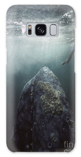 Curious Gray Whale And Tourist Galaxy Case