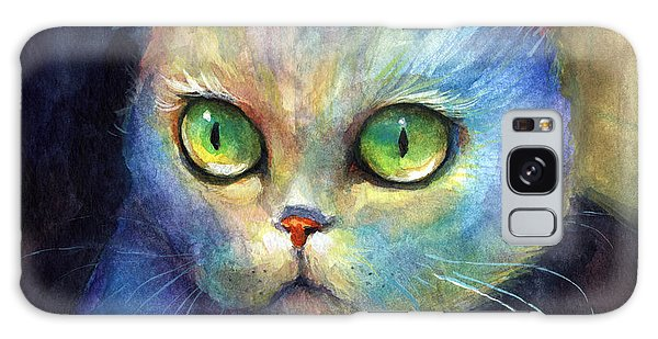 Curious Kitten Watercolor Painting  Galaxy Case