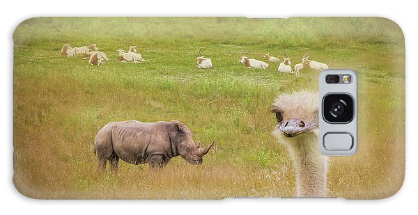 Ostrich Galaxy Case - Curious Ostrich And White Rhino by Tom Mc Nemar