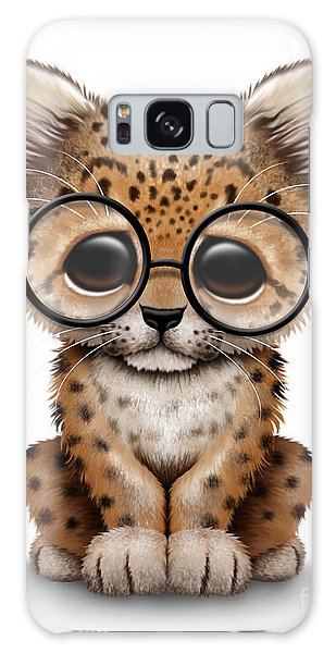 Cute Baby Leopard Cub Wearing Glasses Galaxy Case
