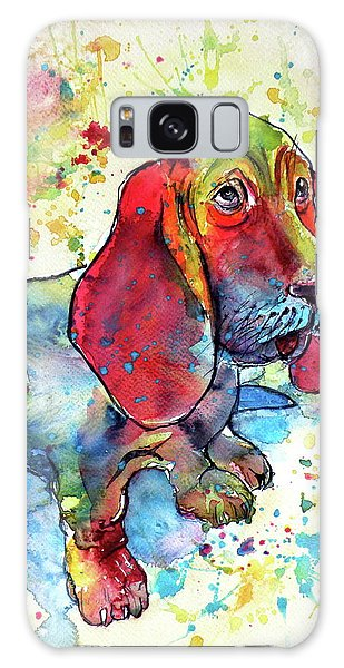 Cute Basset Hound Galaxy Case by Kovacs Anna Brigitta