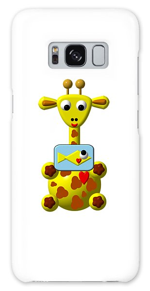 Galaxy Case featuring the digital art Cute Giraffe With Goldfish by Rose Santuci-Sofranko