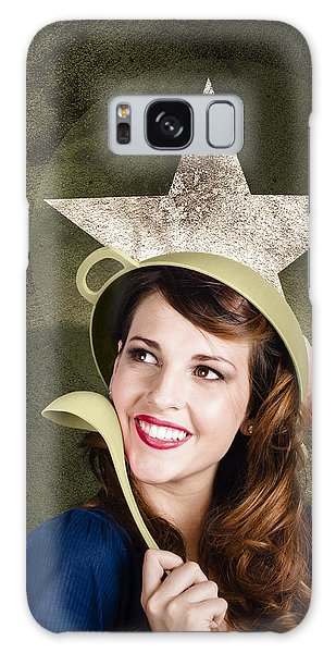 Vivacious Galaxy Case - Cute Military Pin-up Woman On Army Star Background by Jorgo Photography - Wall Art Gallery