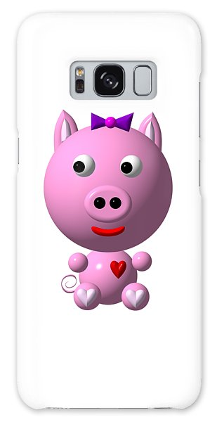 Galaxy Case featuring the digital art Cute Pink Pig With Purple Bow by Rose Santuci-Sofranko
