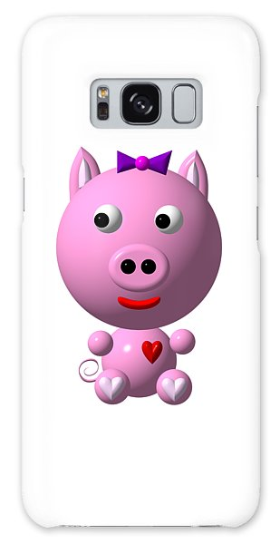 Cute Pink Pig With Purple Bow Galaxy Case