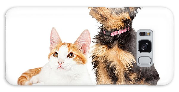 Cute Puppy And Kitten Sitting To Side  Galaxy Case