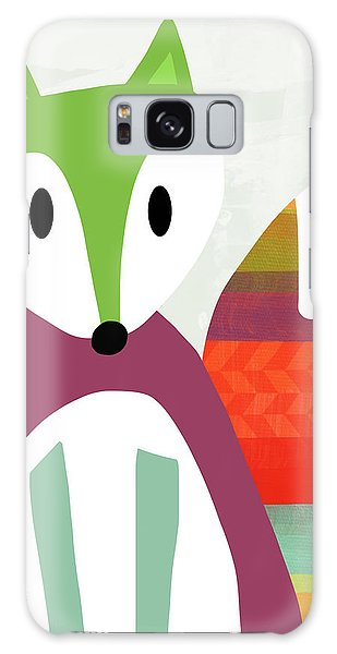 Cartoon Galaxy Case - Cute Purple And Green Fox- Art By Linda Woods by Linda Woods