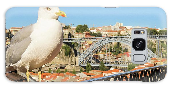 Cute Seagull And Porto's Cityscape Galaxy Case