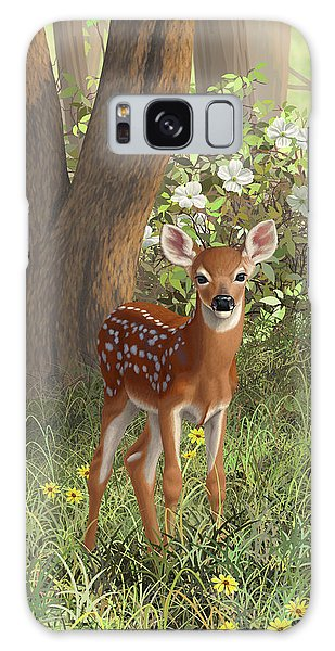 White-tailed Deer Galaxy Case - Cute Whitetail Fawn by Crista Forest