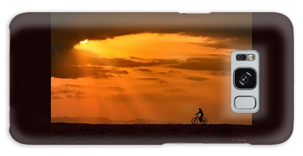 Cycling Into Sunrays Galaxy Case by Joe Bonita