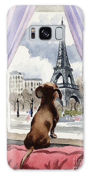Watercolor Pet Portraits Galaxy Case - Dachshund In Paris by David Rogers