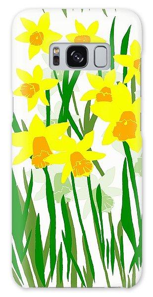 Daffodils Drawing Galaxy Case by Barbara Moignard