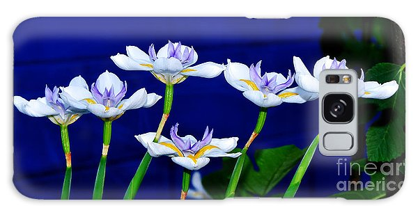 Dainty White Irises All In A Row Galaxy Case by Kaye Menner