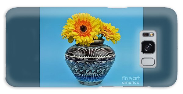 Daisies Displayed In Navajo Native American Vase Galaxy Case by Ray Shrewsberry