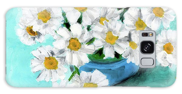 Daisies In Blue Bowl Galaxy Case