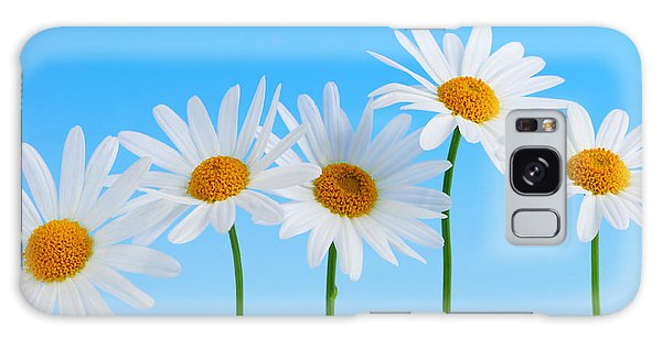 Daisy Flowers On Blue Galaxy Case