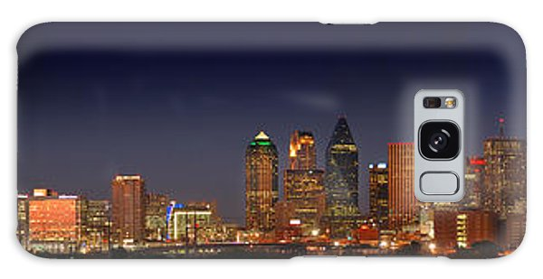 Dallas Galaxy S8 Case - Dallas Skyline At Dusk Big Moon Night  by Jon Holiday