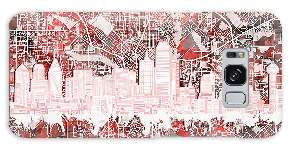 Dallas Skyline Map Red 2 Galaxy S8 Case
