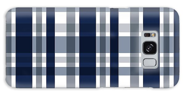 Dallas Sports Fan Navy Blue Silver Plaid Striped Galaxy Case