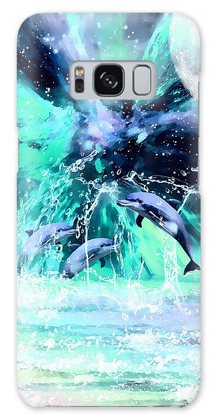 Dancing Dolphins Under The Moon Galaxy Case