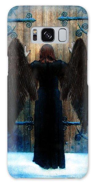 Dark Angel At Church Doors Galaxy Case by Jill Battaglia