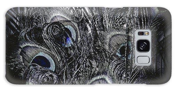 Peacocks Galaxy Case - Dark Blue Peacock Feathers  by Jorgo Photography - Wall Art Gallery