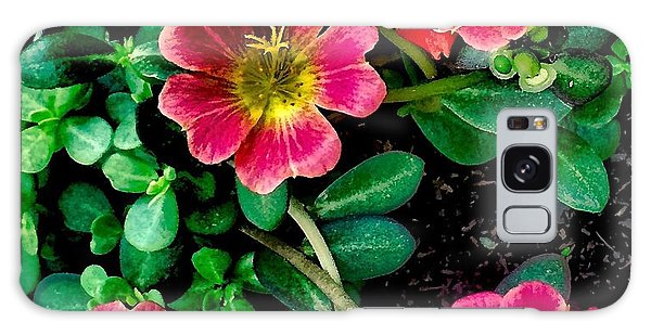 Dark Pink Purselane Flowers Galaxy Case
