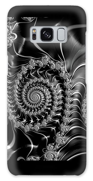 Galaxy Case featuring the digital art Dark Spirals - Fractal Art Black Gray White by Matthias Hauser