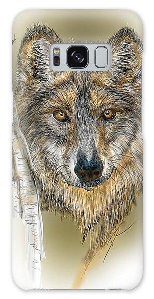 Galaxy Case featuring the digital art Dark Wolf With Birch by Darren Cannell